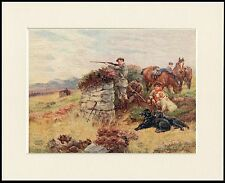 FLAT COATED RETRIEVER SHOOTING SCENE LOVELY DOG PRINT MOUNTED READY TO FRAME
