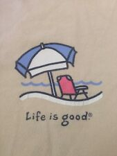 Life is Good Beach Umbrella Beige 100% Cotton Relaxed Fit Womens T-Shirt M 40""