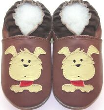 Minishoezoo dog tan 3-4y soft sole leather Toddler shoes slippers free ship