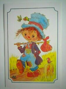 "VTG ""THE HAPPY TRAVELER"" BIRTHDAY GREETING CARD~L.Calloni~Mouth & Foot Painter"