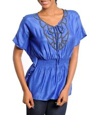 Gorgeous Blue Top With Beaded Embellishments and an Empire Waist Size S, M or L
