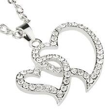 Modeschmuck-Halsketten & -Anhänger aus Kristall mit Strass und Herz für Damen