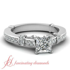.80 Ct Princess Cut SI2 Diamond Tilted Band Engagement Ring With Round Accents