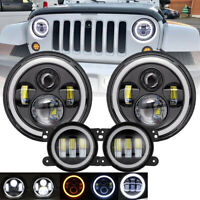 """For Jeep Wrangler JK 07-18 7"""" Headlights High Low Beam+ LED Halo Fog Light 6000K"""