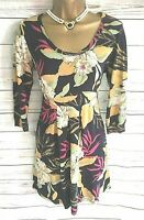 Fat Face Tunic Dress Top Navy Blue Floral 3/4 Sleeve UK 10