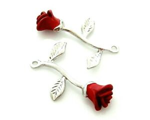 2 Single Red Enamel Long Stem Rose Leaves Silver Bead Drop Charm Pendant Dangles