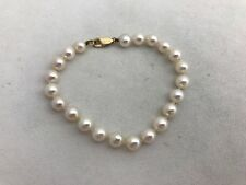 "14kt Yellow Gold 6.8mm Creme Rose Pearl 7 1/2"" Bracelet"