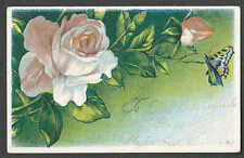 PPC #G175* GOOD POSTCARD FLOWERS & BUTTERFLY EMBOSSED MINT