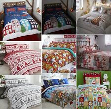 FATHER CHRISTMAS TREE SANTA CLAUS SNOWMAN REINDEER QUILT DUVET COVER BEDDING SET