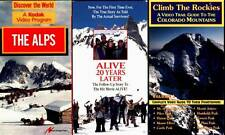 MOUNTAINEERING 3 VHS TAPES THE ALPS CLIMB THE ROCKIES & ALIVE 20 YEARS LATER