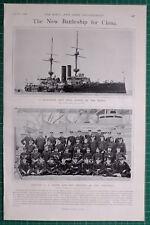 1900 BOER WAR ERA NEW BATTLE SHIP FOR CHINA GOLIATH CAPTAIN WINTZ & OFFICERS