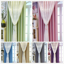 Blackout Curtain Eyelets Ring for Living Room Embroidery Lace Tulle Drape Modern