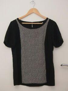 Jigsaw Black & White Silk Top   ~Size 14~
