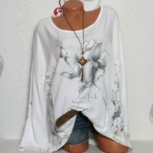 Damen Bluse Shirt Tunika Longshirt Vintage Print  Spitze 42 44 46 Italy