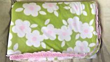 Carter's Green Pink Girls Baby Blanket Fleece Sherpa Soft Plush White Flowers