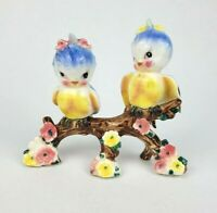 Vintage Norcrest Lefton Bluebird Anthropomorphic Girls with Bows on Branch