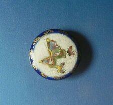 """Antique Painted SATSUMA Ceramic Button-3 Butterflies Cobalt Border/Back 1 1/16"""""""