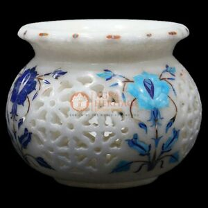 White Marble Flower Organizer Vase Multi Stone Marquetry Floral Design Gifts Her
