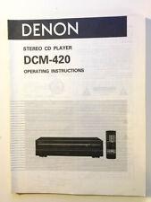 Denon DCM-420 CD Player Owners Manual *Original*