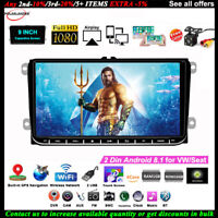 9''2 Din GPS Android Car Radio for VW/Seat +CAM iOS Mirror Link FM Wifi BT Touch