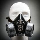 SILVER Steampunk RespiratorGas Mask 2 Valve Filter Face Halloween MEN Masquerade