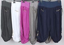 NEW LADIES PLUS SIZE ITALIAN 3/4 LENGTH CROPPED BUTTON DESIGN LINEN TROUSERS