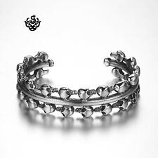 Silver skull bangle stainless steel men women cuff bracelet