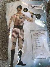Men's Vintage Strongman Costume W/ Wig Mustache Barbell