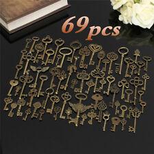 Set of 69Antique Vintage Old Look Bronze Skeleton Keys Fancy Heart Bow Pendant J