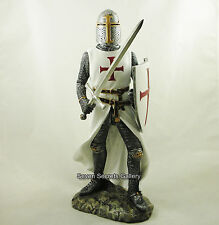 Crusader Knight Medieval Figure Knights Templar with Sword Statue Figurine 29cm