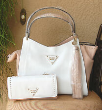 NWT GUESS Thompson Satchel Handbag & Wallet Set Color White Multi