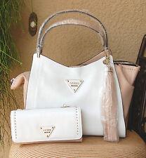 NWT GUESS Thompson Satchel Handbag & Wallet Set Color White Multi