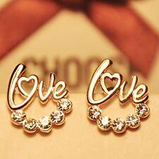 New Arrival cute Gold Plated LOVE Heart Crystal Stud earring For Women Fancy Jew