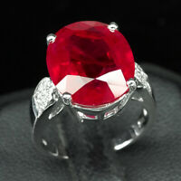 Ruby Pigeon Blood Red Ring Oval 925 Sterling Silver White Gold Plate 05