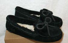 NIB UGG Dakota Double Bow Suede Shearling Moccasins Slippers Black 6 7 8 9 10