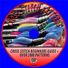 CROSS STITCH PC DVD RESOURCE 2000+ PATTERN COLLECTION+BEGINNERS HOW TO GUIDE NEW