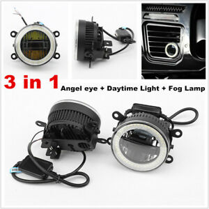 35W Car Angel eye + Daytime Light + Fog Lamp 3in1 LED Front Bumper Lighting Lens