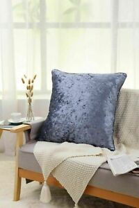 New Plain Luxury Crushed Velvet Cushion Cover With Piped Edges 45 x 45 cm Grey