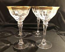 Tiffin Franciscan 17356 Gold Encrusted Melrose Clear Stem Tall Set Of 4