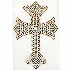 Rhinestone Iron on Transfer Hot fix Design Gold Cross 3 sheets