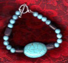 MAGNIFIQUE BRACELET ARTISANAL Perles de TURQUOISE * Fait Maison Main