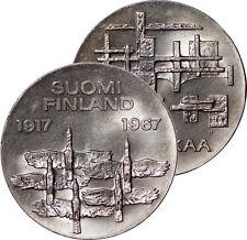 1967 FINLAND 10 MARKKAA 50TH ANNYVERSARY OF INDEPENDANCE SILVER COIN UNC BU