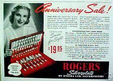 1939 Oneida- Rogers Bros.Silverplate Silversmiths Flatware Silver Trade Print AD