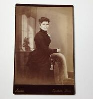Cabinet Card Photo Franklin MA Adams Woman Antique Couch with Tassel