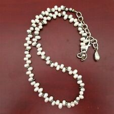"""Vintage Sterling Silver Creamy White Freshwater Pearls Strand 16"""" Necklace 925"""