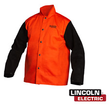 Genuine Lincoln K4690 M Fr Orange Jacket With Leather Sleeves Size Medium