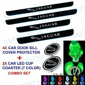 Car Door Scuff Sill Cover Panel Step Protector Blue B +LED COASTER For Jaguar