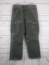 True Religion Men's Gray White Size 34X32 Ricky Cargo Pants Thick Stitching