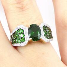 Green Tsavorite Garnet Diamond Accent Modernist 10K Yellow Gold Ring Size 7 LHJ2
