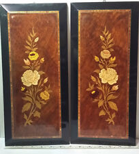 """Vintage Italy Wood Marquetry Wall Panel Plaque Pair. Approximately 14.5"""" x6.75"""""""